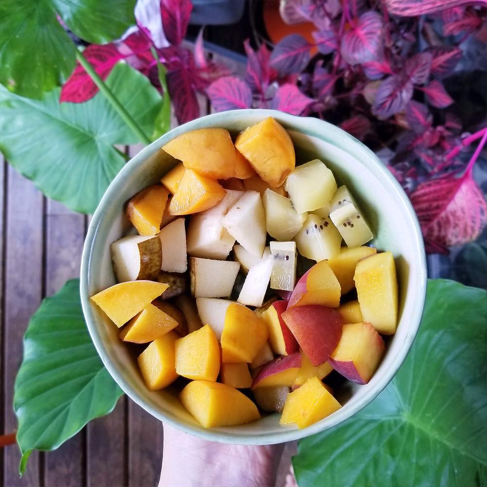 fruit salad, fruit bowl, plants, natural food
