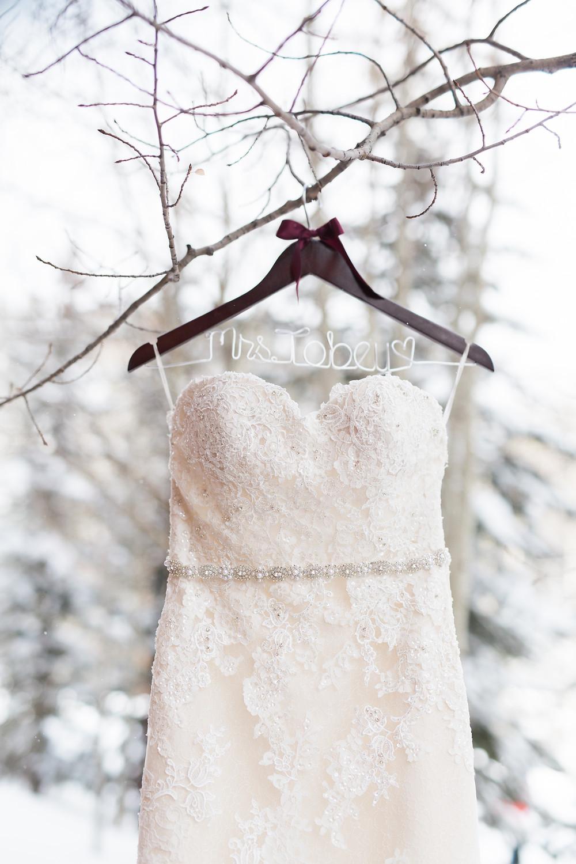 Pronovias wedding dress at the Breckenridge Nordic Center, Breckenridge, Colorado
