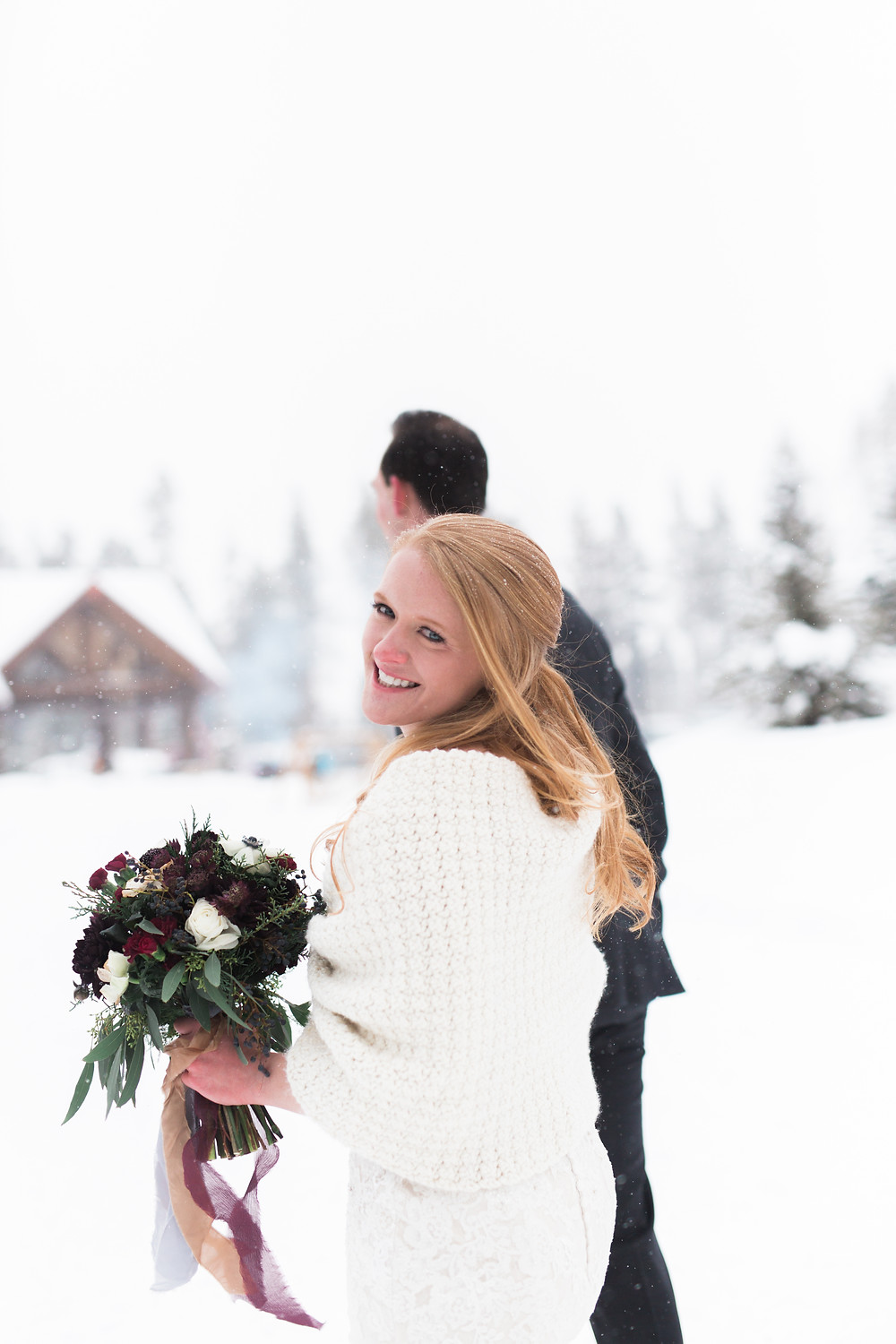 Bride and groom at their wedding at Breckenridge Nordic Center