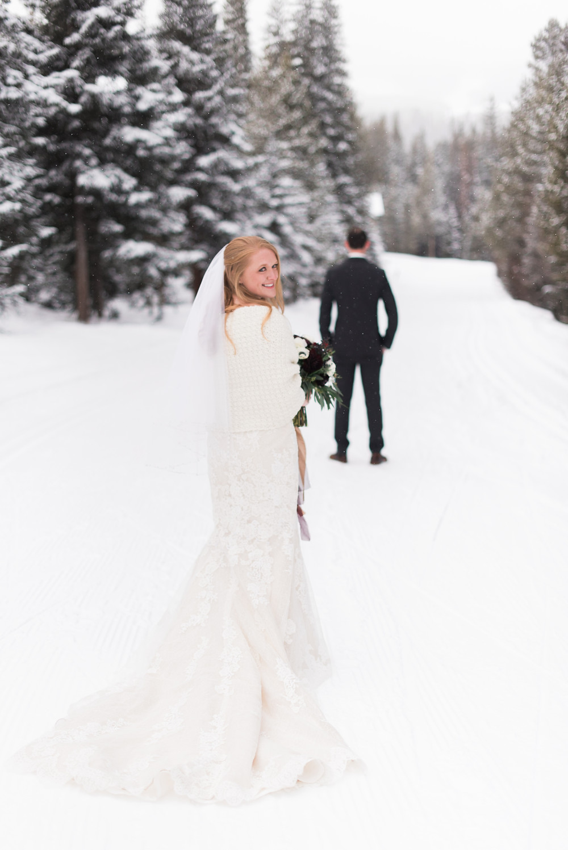 Bride and groom at the Breckenridge Nordic Center in Breckenridge, Colorado