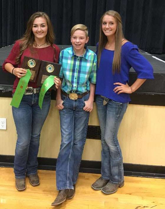 Team members Gracie Metzger, Trevor Varner and Brenna Dotson at the State 4-H Livestock Judging Contest on Wednesday, June 20. (Photo submitted)