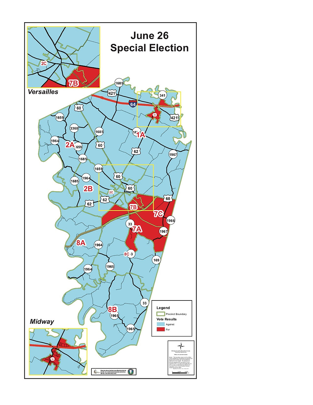 """THIRTEEN OF Woodford County's 19 precincts were carried by """"Against"""" voters in the June 26 special election that decided the fate of a 5.5 cents property tax hike to pay for a new high school and other facility needs. The two best-performing """"For"""" precincts, Huntertown Elementary (7B) and Southside Elementary (7C), were inside schools, while the Millville (2A) and Nonesuch (8B) firehouses went strongly """"Against."""" (Graphic prepared by Woodford County GIS Coordinator Kenneth Johns)"""