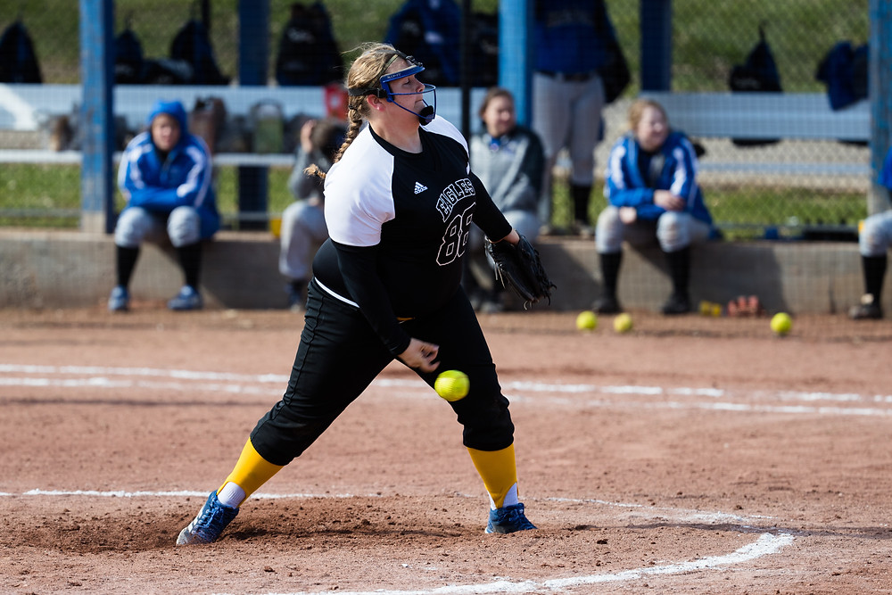 MIDWAY UNIVERSITY FRESHMAN ALYSSA YATES picked up her fifth win of the season last week in a 6-1 victory over West Virginia Tech. Yates tossed a complete game allowing an unearned run on eight hits in seven innings with four strikeouts. (Midway Athletics Photo)