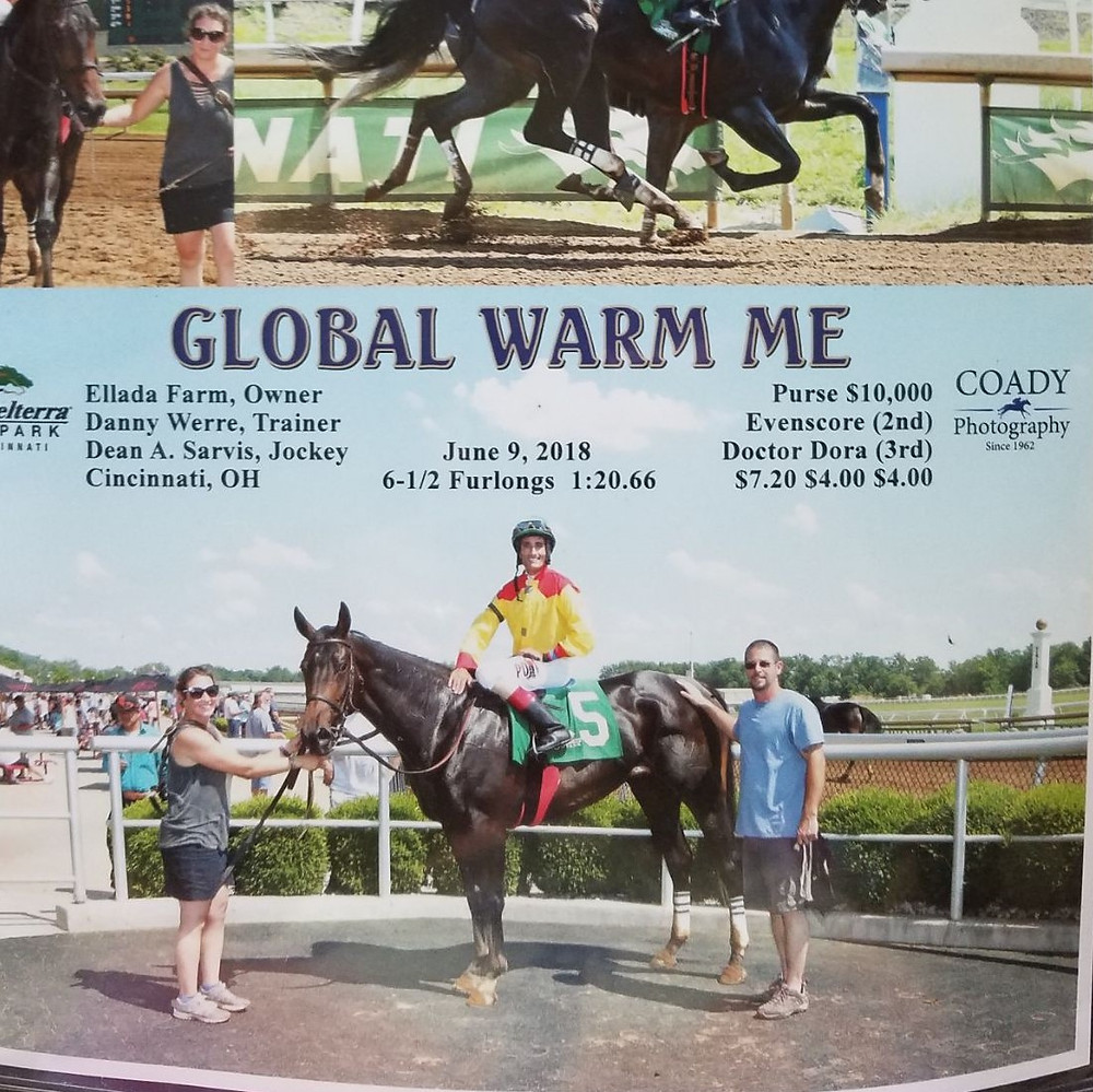 ELLADA FARM'S GLOBAL WAR ME won the first thoroughbred horserace for the farm June 9 at Bellterra Park in Cincinnati. Pictured are Charlena Werre, left, Jockey Dean A Sarvis, center, and Dan Werre right. (Photo submitted)