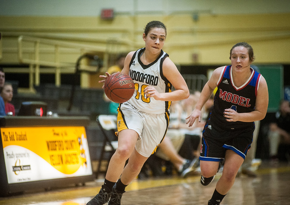 WCHS SENIOR POINT GUARD PEYTON ROSE handles the ball in a victory over Richmond Model School on Saturday, Jan. 20. (Photo by Bill Caine)