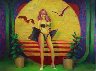 This brand new bikini! It's the latest in swimwear made of antron lycra fabric and a high cut bikini design with wrap, either in solid or majestic prints!  Oil on Canvas, 24x32