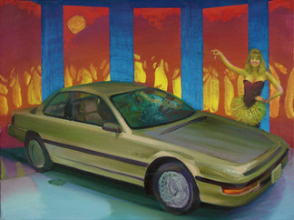 A proven luxury car! This brand new 2 door sports car, aerodynamically designed, breezy handling, luxury and comfort, equipped with manual transmission, standard features and California emissions plus cruise control!  Oil on Canvas, 24x32