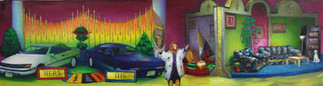 Take your pick of two great Automobiles! Both may be yours!   Oil on Canvas, 26x96