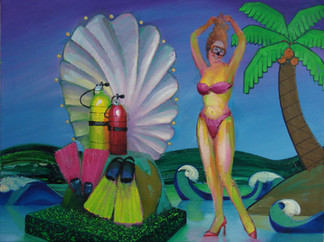 His or her scuba gear - Make your underwater dream come true, includes, tanks regulators, backpacks, masks, snorkels and fins. Just be sure you receive proper instruction before you begin!  Oil on Canvas, 24x32
