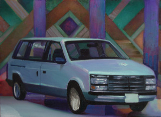 This fabulous caravan! Comes with standard equipment plus metallic pane rear window defroster, radio with AM/FM Cassette player, side curtain air bags, power adjustable pedals, front and rear floor mats, engine block heater, and paint and fabric protection!  Oil on Canvas, 22x16