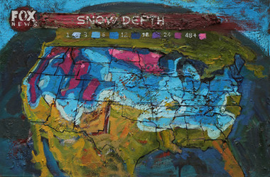 2/13/2014, North America: Snow in 49 States Oil on Canvas, 18.5 x 28