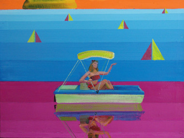 It's a new pedal boat! Have fun in the sun while exercising or relaxing on the water in this three seater pedal boat. It's lightweight and easy to handle!  Oil on Canvas, 24x32