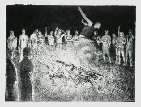Bonfire Jump Etching, 9x12