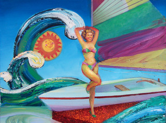 Travel the High Seas in this Sailboat! Easy to handle, easy to care for, easy to sail, made of tough fiberglass and durable rainbow canvas!  Oil on Canvas, 24x32