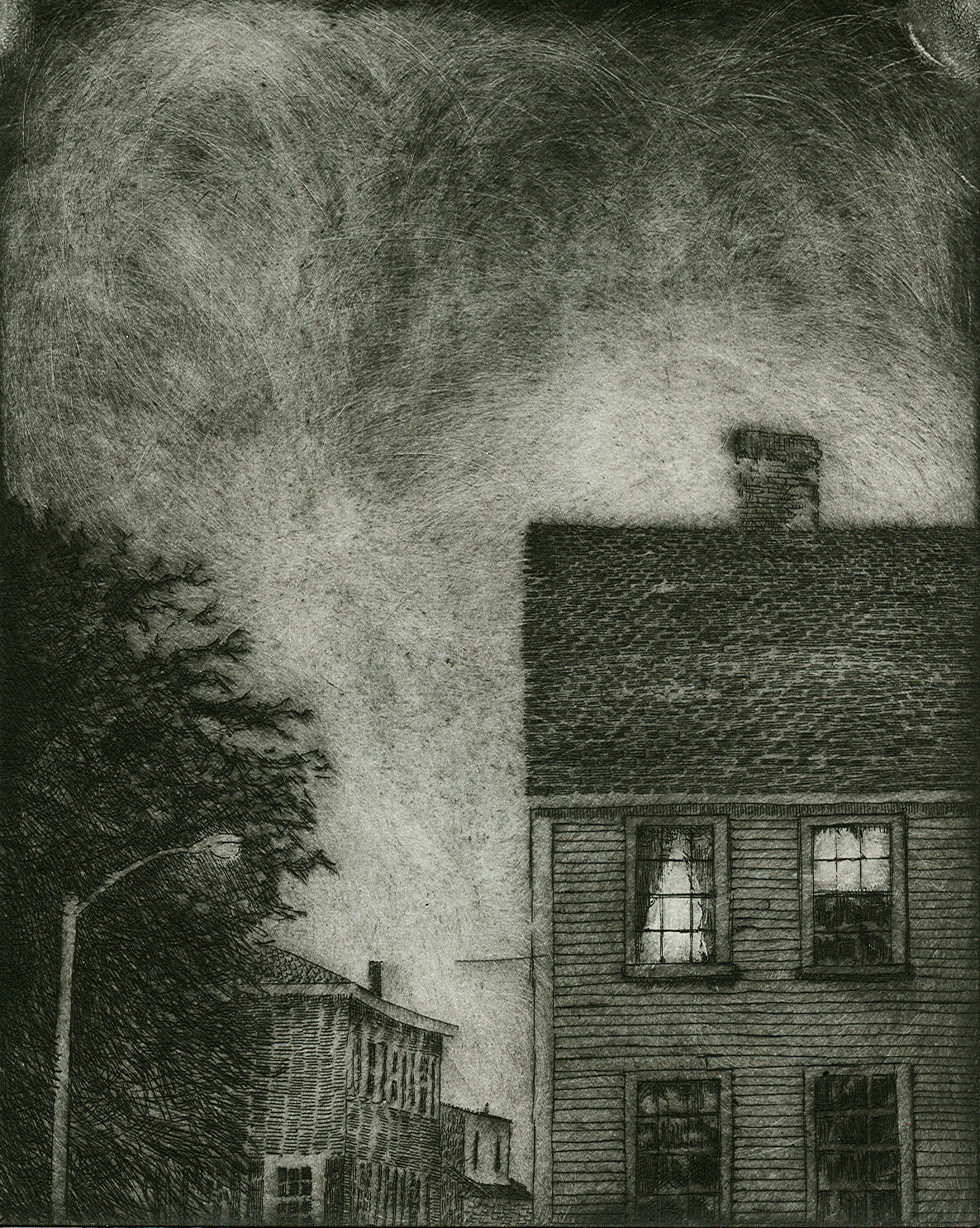 By the Warf, Etching, 6x8