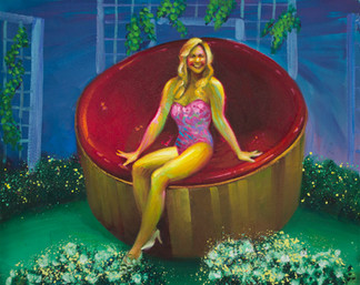 Spend all of your time in this new hot tub! Experience the luxurious sensation of soothing hydro massage, a prize worth $4,300 dollars!  Oil on Canvas, 24x30