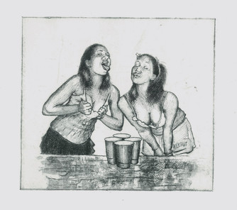 Beer Pong Etching, 9x8