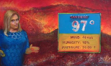 5/20/2014, California: San Diego Burning Oil on Canvas, 24 x 40