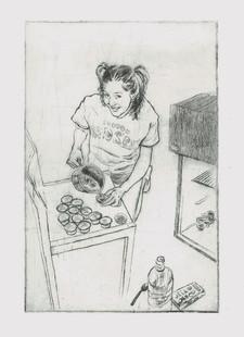 Jello Shots Etching, 9x6