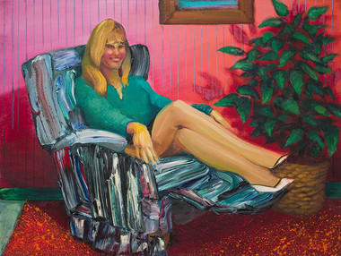 A comfortable lounger! Add warmth and charm to your home, great styling conceals that this smooth operating chair also reclines!  Oil on Canvas, 24x32