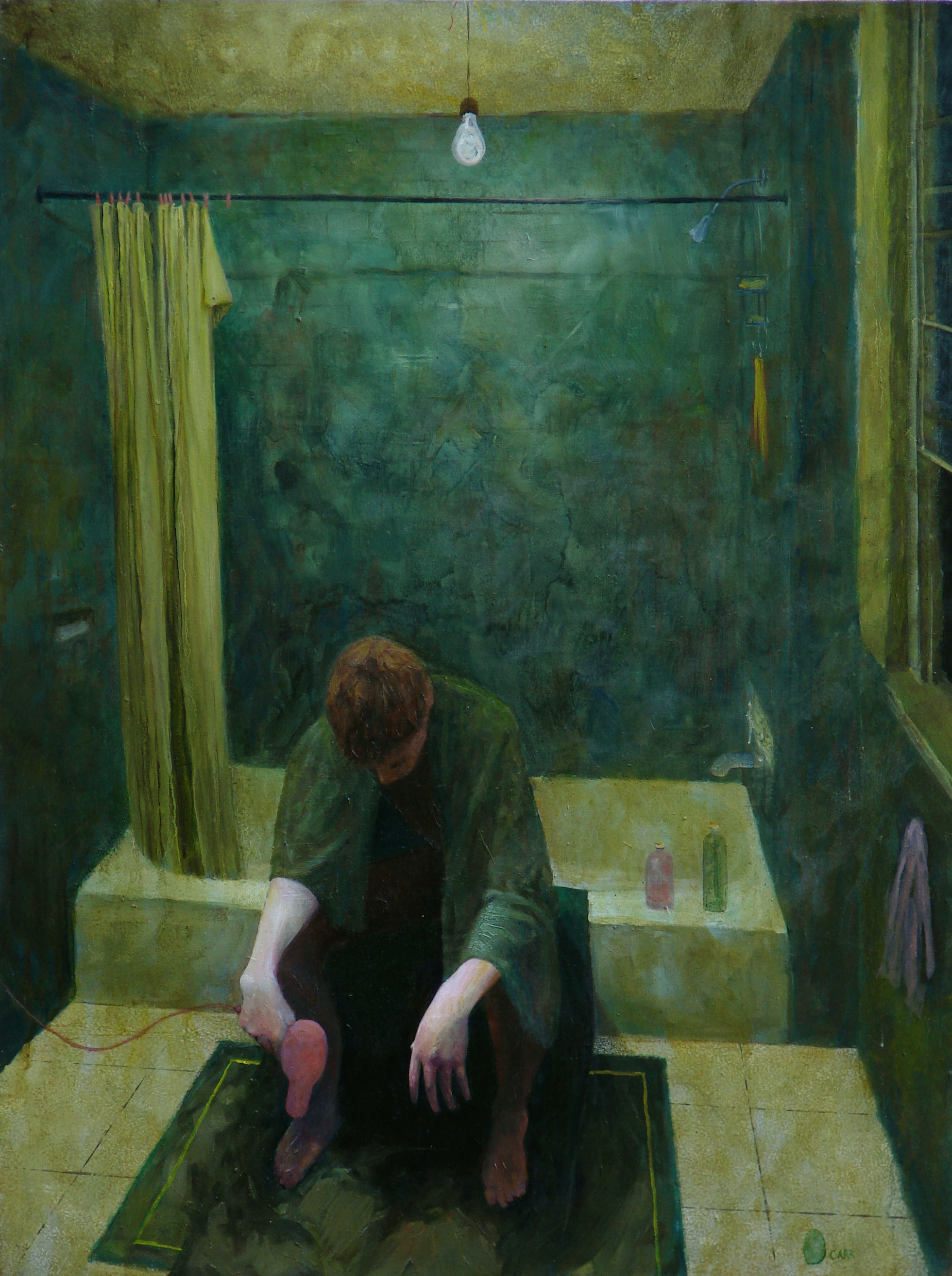Green Bathroom, Oil, 40x30