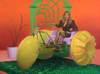 It's like riding a giant tricycle on the water! Boy, it's adorable fun on wheels from water ventures!  Oil on Canvas, 24x32