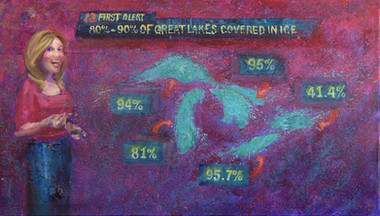 2/13/2014, The Great Lakes: Frozen Lakes Oil on Canvas, 24 x 42