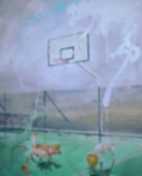 Markus Boesch - Playing dogs 150 cm x 120 cm Oil on Canvas