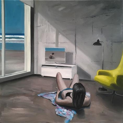 Markus Boesch - The air behind the window 80 cm x 80 cm Oil on Canvas