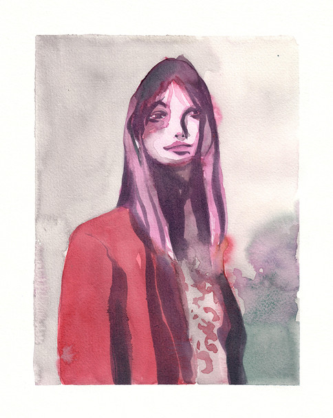 Woman in red jacket
