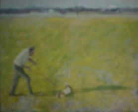 Markus Boesch - Behind the lawn mower 130 cm x 160 cm Oil on Canvas