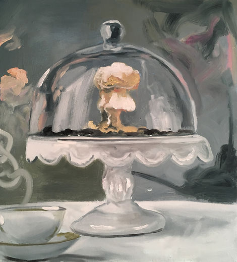 Markus Boesch - Table firework under the Glass Dome 50 cm x 55 cm Oil on Canvas