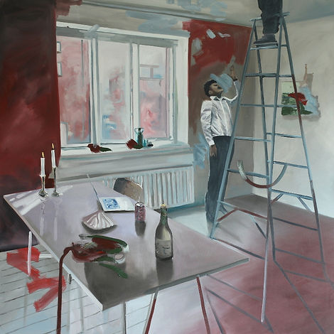 Markus Boesch - For heaven, you need to paint the ceiling 140 cm x 140 cm Oil on Canvas