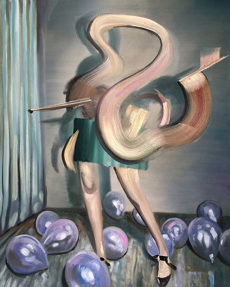 Markus Boesch / Behind the Curtain - 80 cm x 100 cm Oil on Canvas