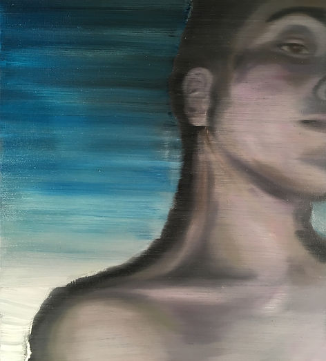 Markus Boesch / Boy in Blue - 45 cm x 50 cm Oil on Canvas