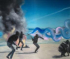 Markus Boesch - Stones thrown into the sea 110 x 130 cm Oil on Canvas