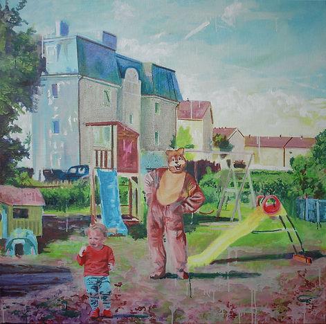 Markus Boesch - Spielplatz-Idylle 105 cm x 105 cm Oil on Canvas