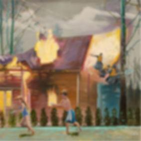 Markus Boesch - Playing with the splashing gun / 150 cm x 150 cm Oil on Canvas