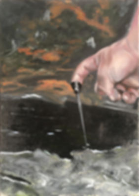 Markus Boesch - Hand at the source 30 cm x 42 cm Oil on Canvas
