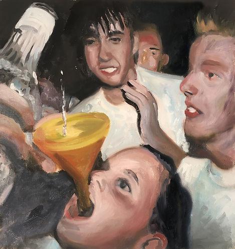 Markus Boesch / Shimmy Shimmy Ya - 32 cm x 32 cm Oil on Canvas