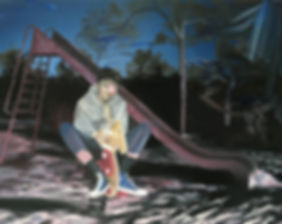 Markus Boesch - Playground at night 100 cm x 80 cm Oil on Canvas