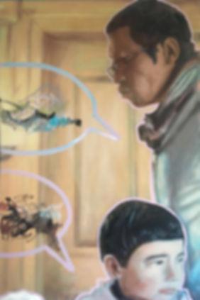 Markus Boesch - My friend with his son 120 cm x 80 cm Oil on Canvas