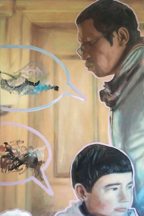 Markus Boesch - My friend with his son 120 cm x 80 cm Oil on Canvas