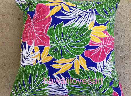 Red anthuriums fabric for pillows and shorts