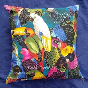 Tropical birds pillow cover, Hawaiian pillow 18x18