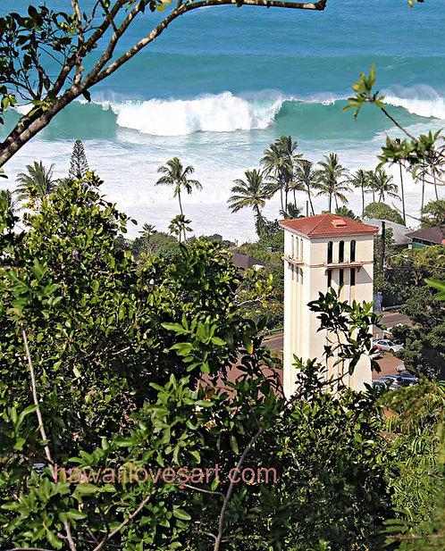 hawaii surf art and hawaii scenes photo Waimea Bay Church tower