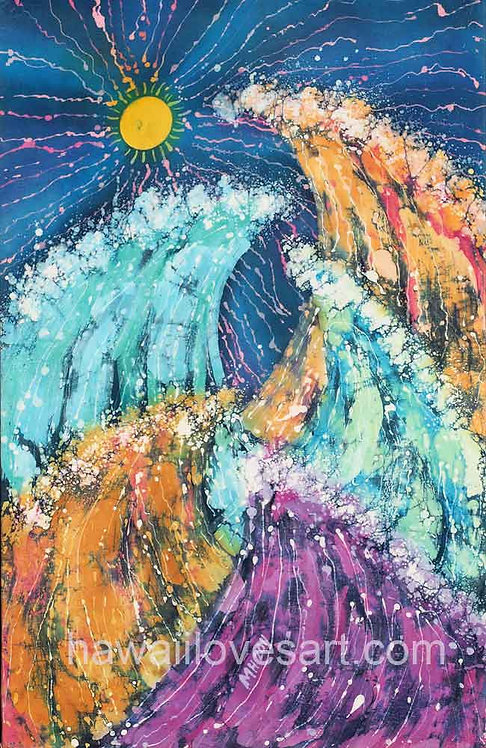 hawaii surf art and hawaii batik painting image Sun Waves