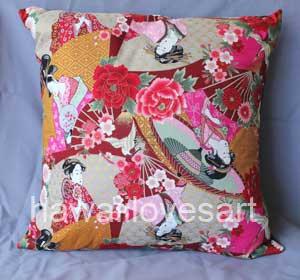 Geisha Girl pillow cover 18x18 Japanese fabric