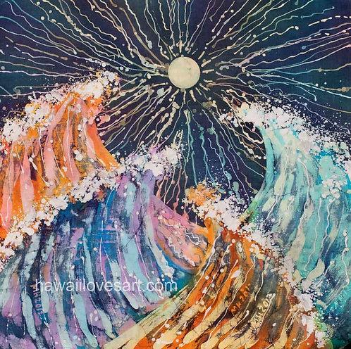 hawaii batik painting and hawaii surf art image Crazy Waves