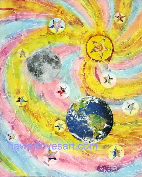 Batik painting - Earth Moon